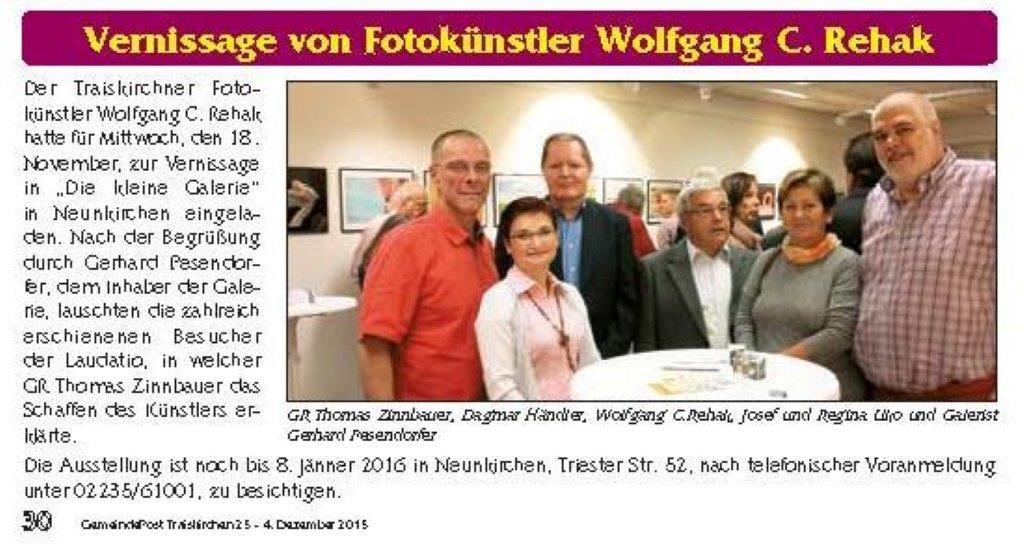 Bericht Vernissage  Wolfgang C. Rehak 18.11.2015 GP_Traiskirchen vom 04.12.2015